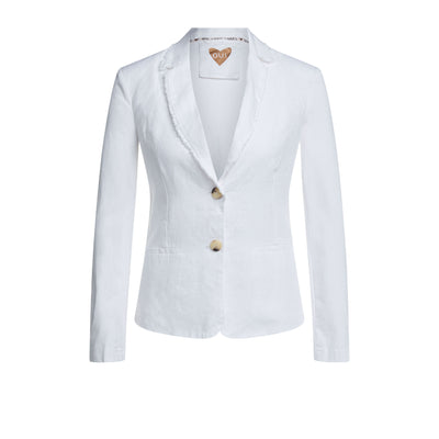 Oui -  Short V Neck Single Breasted Natural Linen Jacket