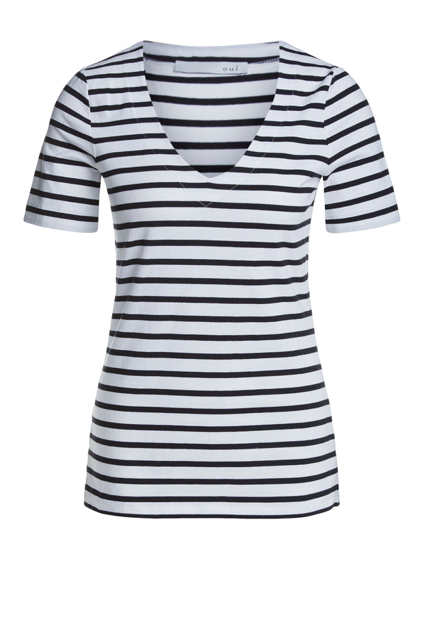 Oui -  Short Sleeve V Neck Striped Cotton Tee Shirt (2 Colours)