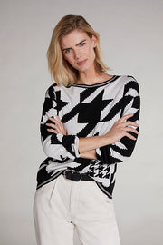 Oui - Fine Knit Cotton Round Neck Jumper In Bold Print