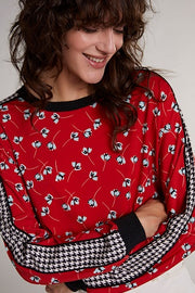 Oui -  Long Sleeve Blouse With Flowers & Dog-Tooth Design On Sleeve