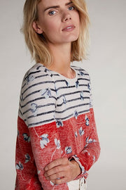 Oui - Fine Knit Cotton Hand Printed Wide Round Neck Jumper