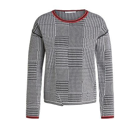 Oui - Cotton Reversible Round Neck Jumper In Bold Patchwork Print