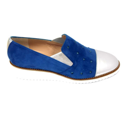 HB-Century Plata -Suede and Leather Low Wedge Shoe with Diamante Top (2 colours)