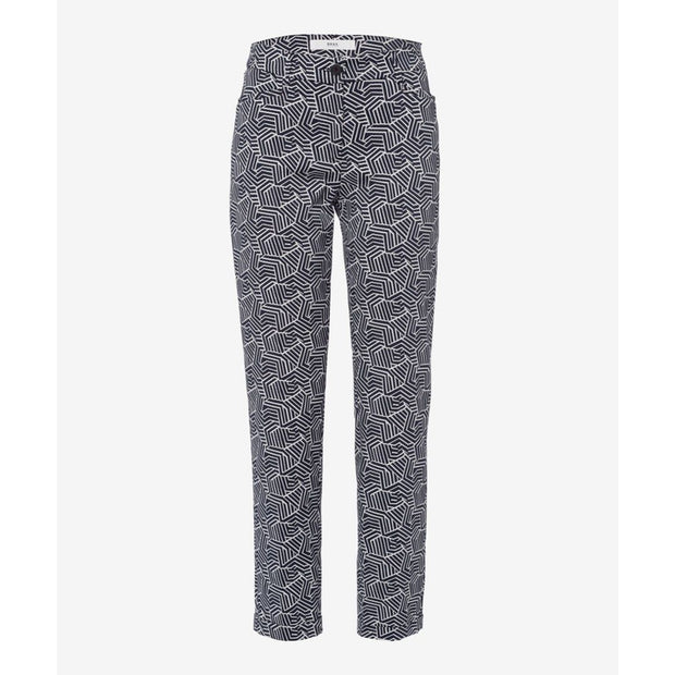 Brax - Maron Cropped Casual Trouser in Bold Geometric Design