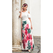 Michaela Louisa - Pleated White, Pink & Green Maxi Skirt