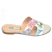 HB - Flat Printed Suede Backless Sandal in Multi Coloured Pebble Print
