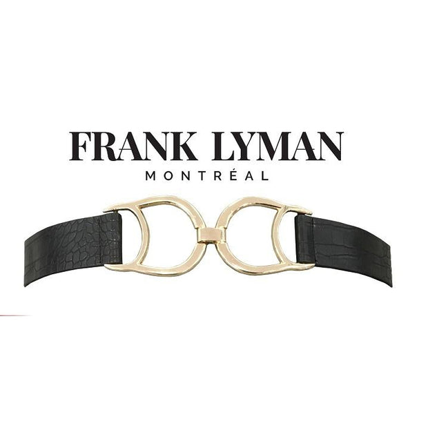 Frank Lyman - Black Stretch Croc Leather Effect Belt With Gold Buckle