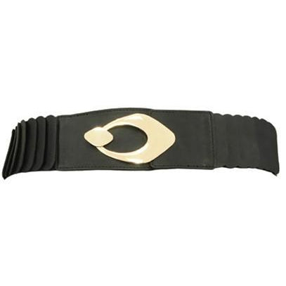 Frank Lyman - Black Stretch Leather Effect Belt With Gold Buckle