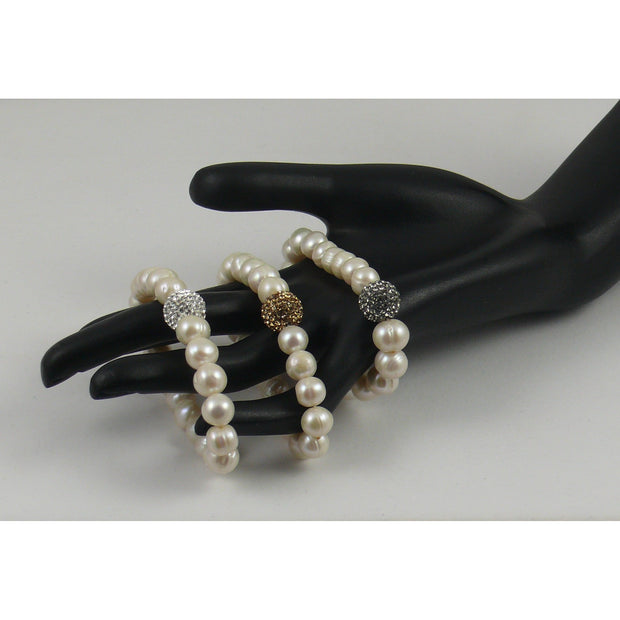 The Real Pearl Co. - White Pearl Elasticated Bracelet with Swarovski Crystal Ball