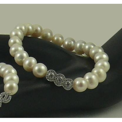 The Real Pearl Co. - White Pearl Elasticated Bracelet with Silver & CZ Triple Circle