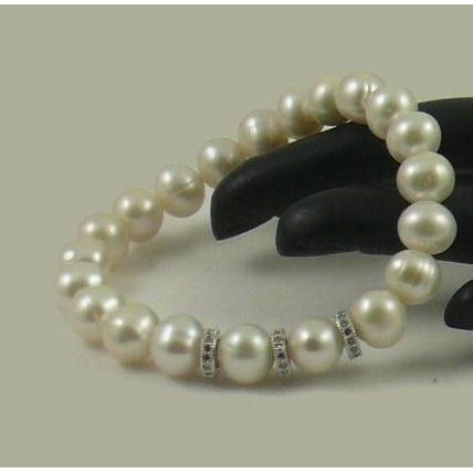 The Real Pearl Co. - White Pearl Elasticated Bracelet with Silver & CZ Rings