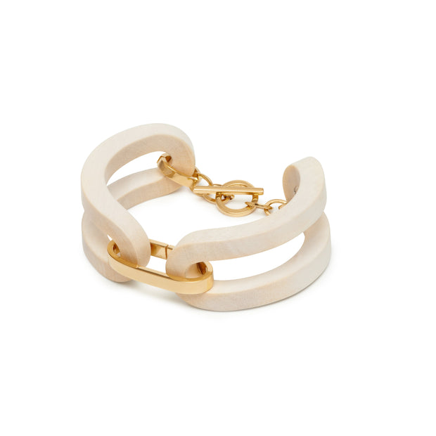 The Branch - Open Sided White Wood Bracelet
