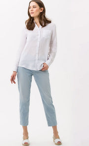 Brax - Victoria Long Sleeve Linen Blouse in White