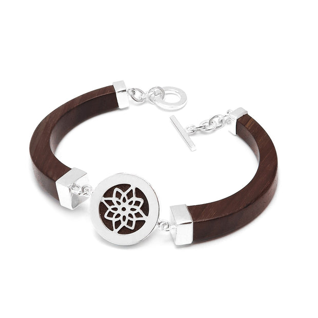 The Branch - Black Wood Bracelet with sterling silver lotus design