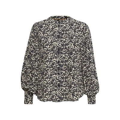 Part Two - Barbette Long Sleeve Blouse in Blue and Tan Flower Print