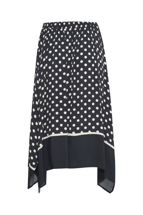 Part Two - Bayan Navy And White Spotted A-Line Skirt