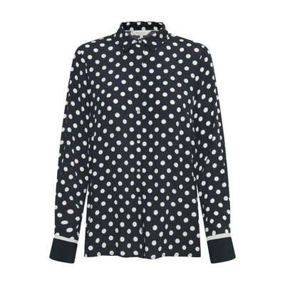 Part Two - Birgith Long Sleeve Blouse in Navy with Cream Spots