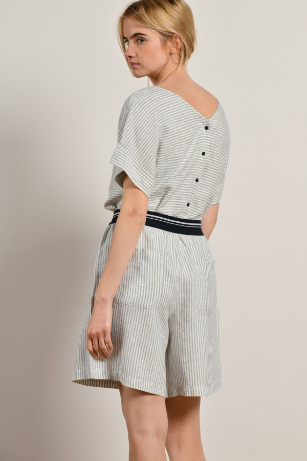 Mat De Misaine - Carmin Striped Linen Blouse With Buttoned Back