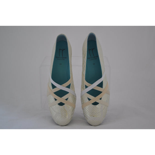 Thierry Rabotin - Rio - High Wedge Shoe in Off White & Silver Snake Effect Leather