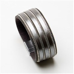 Eliza Gracious - Cuff Style Gun Metal Grey Leather Bracelet