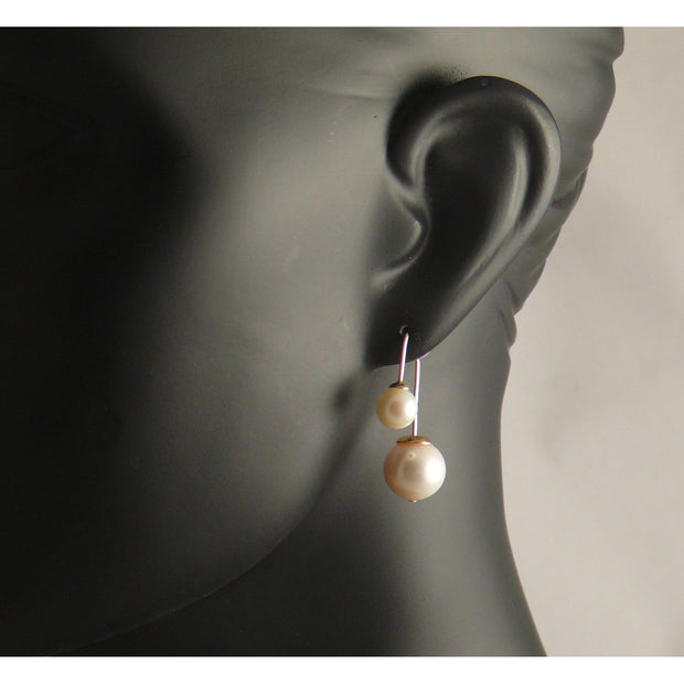 The Real Pearl Co. - Gold plated drop earrings with Large & Small White Pearl
