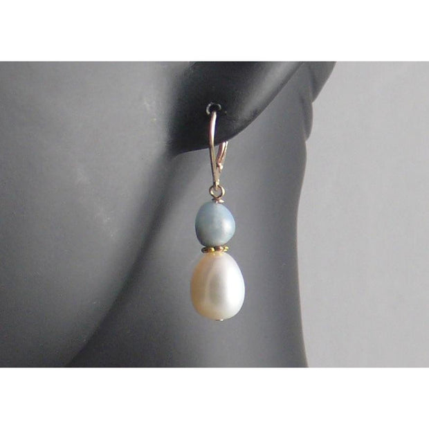 The Real Pearl Co. - White Pearl & Aquamarine Drop Earrings