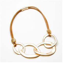 Eliza Gracious - Short Leather Necklace with Large Open Links