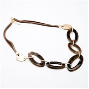 Eliza Gracious - Short Leather Necklace with Elongated Resin Loops