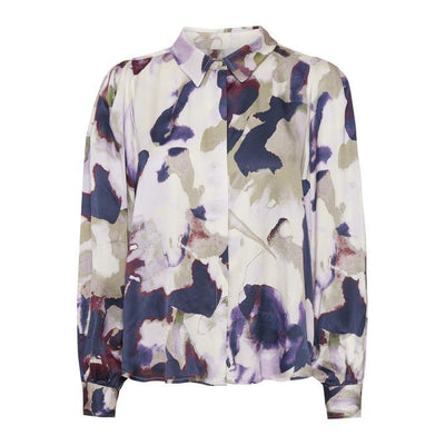 Part Two - Erene Long Sleeve Blouse in Purple Watercolour Print