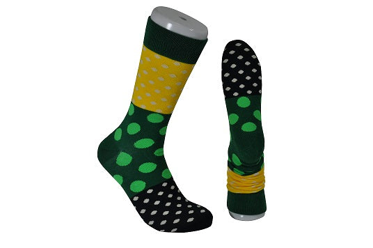 The Tie Studio - Men's Socks - Multi-Coloured Dots On Green, Yellow & Blue