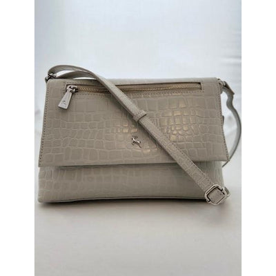 Ashwood Croc Effect Leather Shoulder Bag in Pale Grey