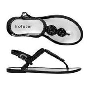 Holster Shoes - Oceanic Black Flat Silicone Toe Post Sandal