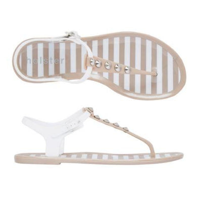 Holster Shoes - Daytrip Champagne and White Flat Silicone Toe Post Sandal