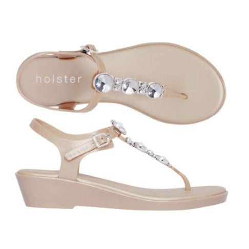 Holster Shoes - Blissed Silicone Wedge Toe Post Sandal with Diamante