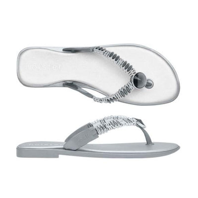 Holster Shoes - Silver Silicone and Diamante Flip flop