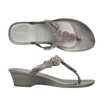 Holster Shoes - Pewter Silicone Wedge Flip Flop with Beading
