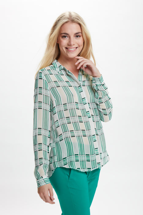 InWear - Hayden Floaty Shirt in Pale Green & White
