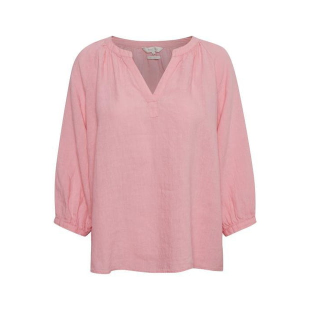 Part Two - Hikma 3/4 Sleeve Linen Blouse in Sea Pink