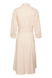 InWear - Howard Long Belted Dress in Gold Flame Stripes
