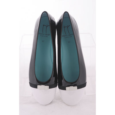 Thierry Rabotin - Ginevra Black and White Patent Flat Low Cut Ballet Pump