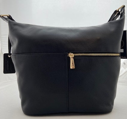 Ashwood Large Black Leather Shoulder Bag