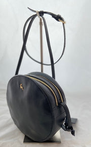 Ashwood Small Round Black Leather Shoulder Bag