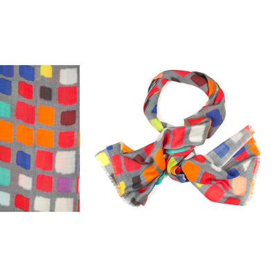 Kapre - Merino Wool & Silk Scarf Bright Squares on Grey Base - KAP316-01