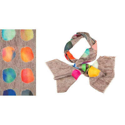 Kapre - Merino Wool & Silk Scarf Bright Circles on a Taupe Base - KAP316-62