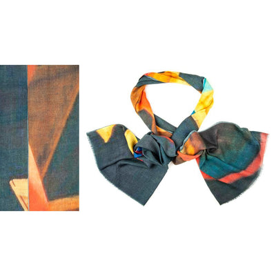 Kapre - Merino Wool and Silk Scarf Multi Coloured on Dark Background - KAP316-82