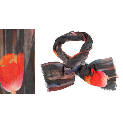Kapre - Merino Wool Scarf with Large Tulips - KAP317-57