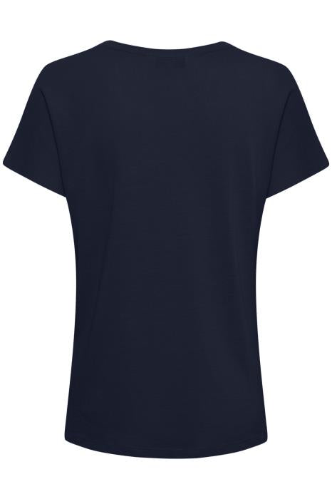 Part Two - Kato - Stylist Plain Linen Mix Round Neck Tee Shirt with Neckline Detail