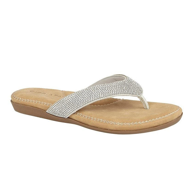 CIPRIATA - 'ALCEE'  Diamante Toe Post Sandal (2 colours)