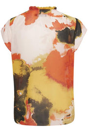 Soaked In Luxury - Millia Short Sleeve Blouse in Bright Watercolour Print