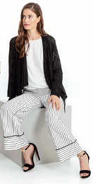 Maria Bellentani - Off White Loose Leg Trouser with Black Stripe